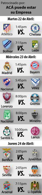 Fútbol recomendado para esta semana: 22 al 24 de Abril, tendremos semifinales Champions League, Europa League, y octavos de final de la Copa Libertadores…  http://blogueabanana.com/deportes/futbol-22-al-24-de-abril.html