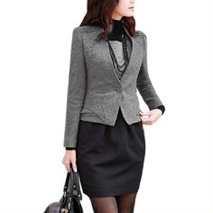 Allegra K Women One Button Long Sleeve Elegant Autumn Short Blazer Coat Gray S Allegra K. $30.57