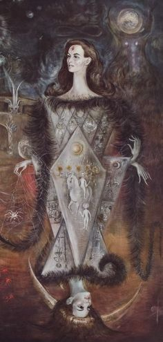 Wonderful painting by the surrealist artist Leonora Carrington. It is entitled Maja del Tarot and was created in 1965. Here is the right hand side of the painting which shows images of the major arcana on the dress of the female figure who is depicted like a Queen in a set of playing cards.