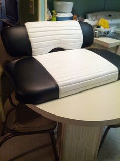 Golf Cart seat.   Black with White Tuck n Roll.