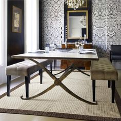 Amazing Tables Legs Paired With A Woven Flooring Gold Dining RoomsDining Room RugsFormal