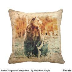 Rustic Turquoise-Orange Wood Texture - Bear Throw Pillow