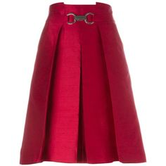 Céline Vintage Pleated Skirt ($403) ❤ liked on Polyvore featuring skirts, red, silk skirt, red high waisted skirt, red pleated skirt, red skirt and knee length pleated skirt