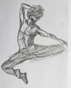 Free minded. Figure drawing made with graphite pencil.