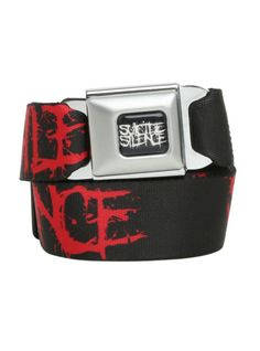 Buckle-Down brand seat belt belt with Suicide Silence logos design and an authentic automotive style seat belt buckle.