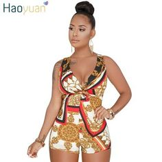 24233deee13 HAOYUAN Plus Size Sexy Playsuit One Piece Summer Overalls Casual Bodysuit  Deep-V Neck Bodycon Shorts Rompers Womens Jumpsuit