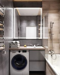 Tiny Laundry Rooms, Laundry Room Design, Bathroom Design Small, Laundry In Bathroom, Bathroom Interior Design, Bathroom Styling, One Room Apartment, Apartment Design, Home Entrance Decor