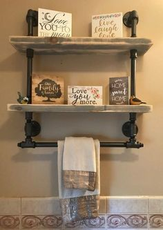 Bathroom remodel / shelves with towel rack / barnwood / Rustic / Reclaimed Wood / Industrial Pipe / Industrial / Shabby Chic/ Steampunk Boho Bathroom, Bathroom Styling, Bathroom Interior Design, Bathroom Storage, Bathroom Ideas, Minimal Bathroom, Bathroom Organization, Master Bathroom, Bathroom Trends