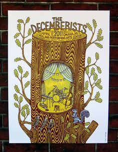 Woodcut Poster for The Decemberists by Tugboat Printshop Band Posters, Cool Posters, Music Posters, Travel Posters, The Decemberists, Tug Boats, Concert Posters, Woodblock Print, Drawing