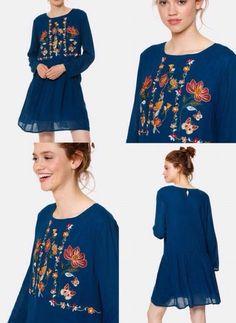 robe Meisie bleue canard brodée
