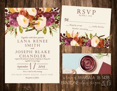 Marsala Floral Wedding Invitation Set Printable by papernpeonies