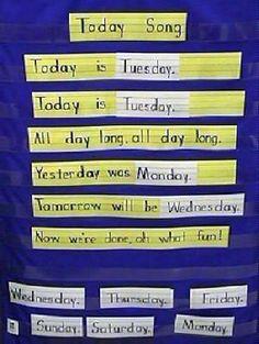 /angel/ Kittiyachavalit Winterscheidt Giancaterino  Look! A new pocket chart idea and we can teach days of the week!