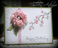 Stamps: Garden Silhouettes, Happiest Birthday Wishes  Paper: PTI Natural White, Pear Pizzazz  Ink: SU! Markers, Early Expresso, Pear Pizzazz, Regal Rose  Accessories: Twine, Recollection Pearl brad, half pearls, satin ribbon, CB Embossing Folder