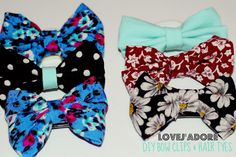 DIY No Sew Bow Hair Tyes and Clips