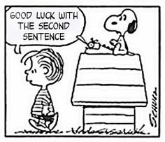 Good grief! Snoopy has writer's block.
