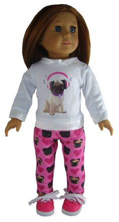 """Pug Dog T-Shirt Leggings Shoes Outfit made for 18"""" American Girl Doll Clothes"""