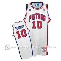 maillot nba pas cher Dennis Rodman #10 blanc Detroit Pistons