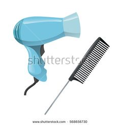 Cartoon trendy design hair styling equipment tool set. Plastic black hair comb with special long metal handle and electric hairdryer. Vector barber shop illustration icon collection.