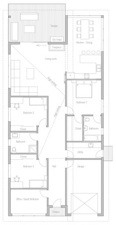 house design modern-house-ch309 10 | Delete Office and garage.  Enlarge master BR closet and bath instead.  Pantry/laundry should be between kitchen and master BR, so flip the master BR.