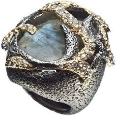 Alexis Bittar Siyabona Gunmetal Midnight Vine Ring ($245) ❤ liked on Polyvore