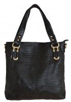 Chantalle Levesque -- Women's Black Leather Tote with Crocodile Emboss $105.95