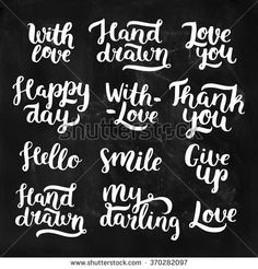 Vector photo overlays, handdrawn lettering collection. With love, Hand drawn, Love you, With love, Thank you, Hello, Smile, My darling, Love. For scrapbook, greeting cards and more