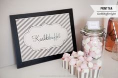 PRINTIT: Karkkibuffet-kyltti Wedding Planning, Wedding Ideas, How To Plan, Frame, Party, Wedding Things, Home Decor, Picture Frame, Decoration Home