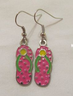 Cute Hot Pink Flip Flop Handmade Earrings by CraftyChic90 on Etsy, $2.50