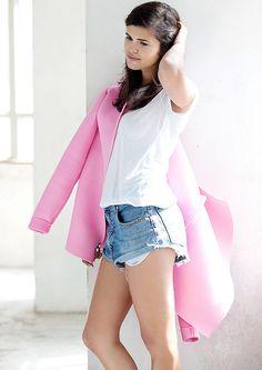 make a simple coat // veste en Néoprène pink