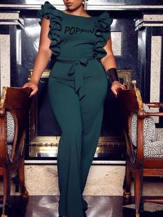 Slay in effortless looks, our blue plunge back out jumpsuit is one of a kind and is ready to make a statement. Round neckline U shape cut out design Open back, Stretchy, Fabric: Poly - Spandex Model wearing MEDIUM. Classy Dress, Classy Outfits, Chic Outfits, Dress Outfits, Fashion Outfits, Dope Fashion, Girl Fashion, Ruffle Jumpsuit, Long Jumpsuits