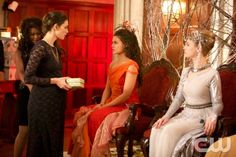 """The Originals -- """"The Big Uneasy"""" -- Image Number: OR118a_0217.jpg -- Pictured (L-R): Phoebe Tonkin as Hayley, Danielle Campbell as Davina, and Alexa Yeames as Abigail - Photo: Annette Brown/The CW -- © 2014 The CW Network, LLC. All rights reserved."""