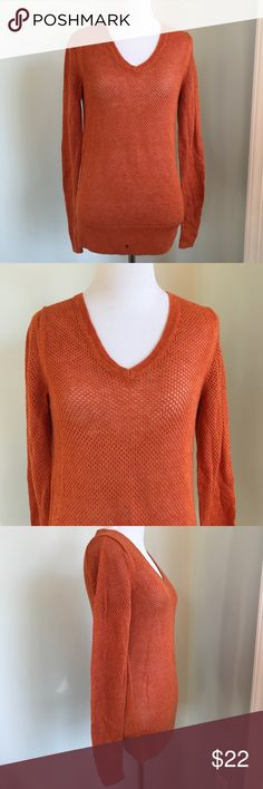 NWT The Limited Orange Sweater Size S V neck style orange Sweater from The Limited.  Size S.  Long Sleeve.  NWT.  40% Rayon 30% Wool 30% Nylon.  Crochet style Sweater. The Limited Sweaters V-Necks