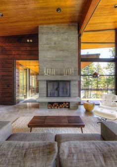 Diseño de Interiores  Arquitectura: Cabaña Moderna con Vistas al Lago Coeur D'Alene en el Norte de Idaho