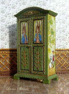 For doll House. Hand Painted Furniture, Funky Furniture, Paint Furniture, Furniture Makeover, Patterned Furniture, Bedroom Cupboard Designs, Peter Rabbit, Shabby Chic Cottage, Tropical Decor