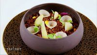 Crumble et compote de poires avec ses disques de chocolat - Top Chef 2015 :)