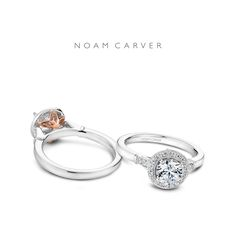 Luxury and glam are in the details. View this white gold beauty by Noam Carver with a rose gold twist.  Engagement ring by Noam Carver.