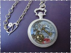 Lock and Key Pocket Watch Necklace  Steampunk by ScorpioFashions