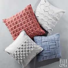 These four designs for modern geometric pillows look sophisticated, but they're DIYable using felt, a few strategic cuts and folds, and basic stitching.