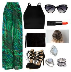 A fashion look from July 2017 featuring beaded top, wide leg pants and pointy-toe pumps. Browse and shop related looks. Elie Saab, Bling Jewelry, Nars Cosmetics, Miss Selfridge, Boohoo, Polyvore Fashion, Shoe Bag, Outfit, Clothing