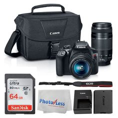 Canon EOS Rebel DSLR T6 Camera Body + Canon EF-S 18-55mm IS II Lens & EF 75-300mm III Lens + Canon EOS Shoulder Bag (Black) + SanDisk SDXC 64GB Memory Card + Cleaning Cloth + Ultimate Canon Bundle. This Photo4Less Top Value Camera And Lenses With USA Warranty and manufacturer's supplied Accessories Kit includes:. Canon EOS Rebel T6 DSLR Camera Body - Canon EF-S 18-55mm f/3.5-5.6 IS II Lens - Canon EF 75-300mm f/4-5.6 III Lens - Sandisk Ultra SDXC 64GB 80MB/S C10 Flash Memory Card -...
