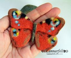 Hand Felted Brooch Butterfly Orange peacock is a super accessory! It can adorn up any jacket, hat, shirt or handbag!  Felt Brooch Butterfly measures
