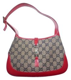 9494b9d952a Gucci Jackie Vintage O Logo Designer Purses Red and Brown G Logo  Leather Canvas