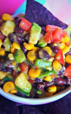 Sweet Bean and Avocado Salsa- For Vegan Tailgating