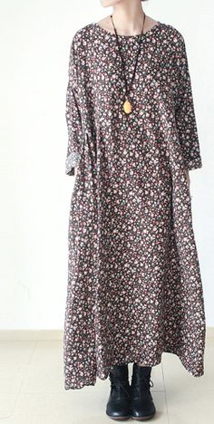 2016 fall brown plus size floral cotton dresses long sleeve maxi dress gown
