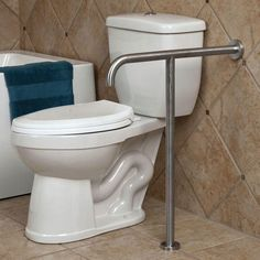 Pickens U-Shape Grab Bar with Leg Support - Grab Bars - Bathroom Accessories - Bathroom Ada Bathroom, Bathroom Safety, Bathroom Toilets, Small Bathroom, Neutral Bathroom, Bathroom Ideas, Handicap Toilet, Handicap Bathroom, Disabled Bathroom