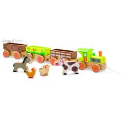 Janod Story Barnyard Baby Train from The Toy Centre UK