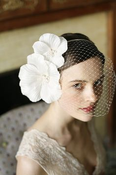 Double Poppy with Veiling by Jennifer Behr bridal :: Vintage Dress :: Photography by Belathée :: wedding :: headband :: bride :: silk :: flowers :: veil
