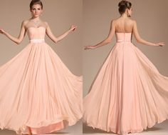 New Simple Elegant Light Pink Strapless Evening Dress Bridesmaid Dress (C00117301)