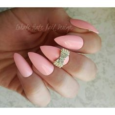 Pink with Reusable 3D Pearl Rhinestone Bow Charm Press on Fake Nails... ($11) ❤ liked on Polyvore