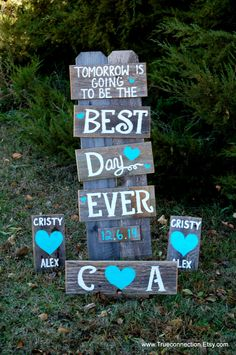 Rustic REHEARSAL Dinner Signs Decorations Weddings Sings Package Hand Painted Reclaimed Wood. Rustic Weddings. Country Weddings Farm Wedding by TRUECONNECTION on Etsy https://www.etsy.com/listing/211564103/rustic-rehearsal-dinner-signs